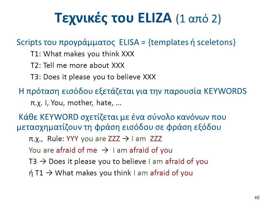 Τεχνικές του ΕLΙΖΑ (1 από 2) Scripts του προγράμματος ELISA = {templates ή sceletons} T1: What makes you think XXX T2: Tell me more about XXX T3: Does it please you to believe XXX Η πρόταση εισόδου εξετάζεται για την παρουσία KEYWORDS π.χ.