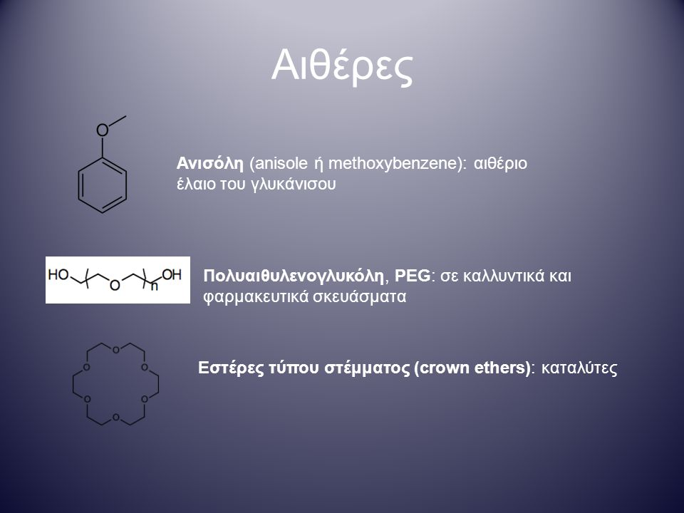 Αιθέρες Ανισόλη (anisole ή methoxybenzene): αιθέριο έλαιο του γλυκάνισου Πολυαιθυλενογλυκόλη, PEG: σε καλλυντικά και φαρμακευτικά σκευάσματα Εστέρες τύπου στέμματος (crown ethers): καταλύτες