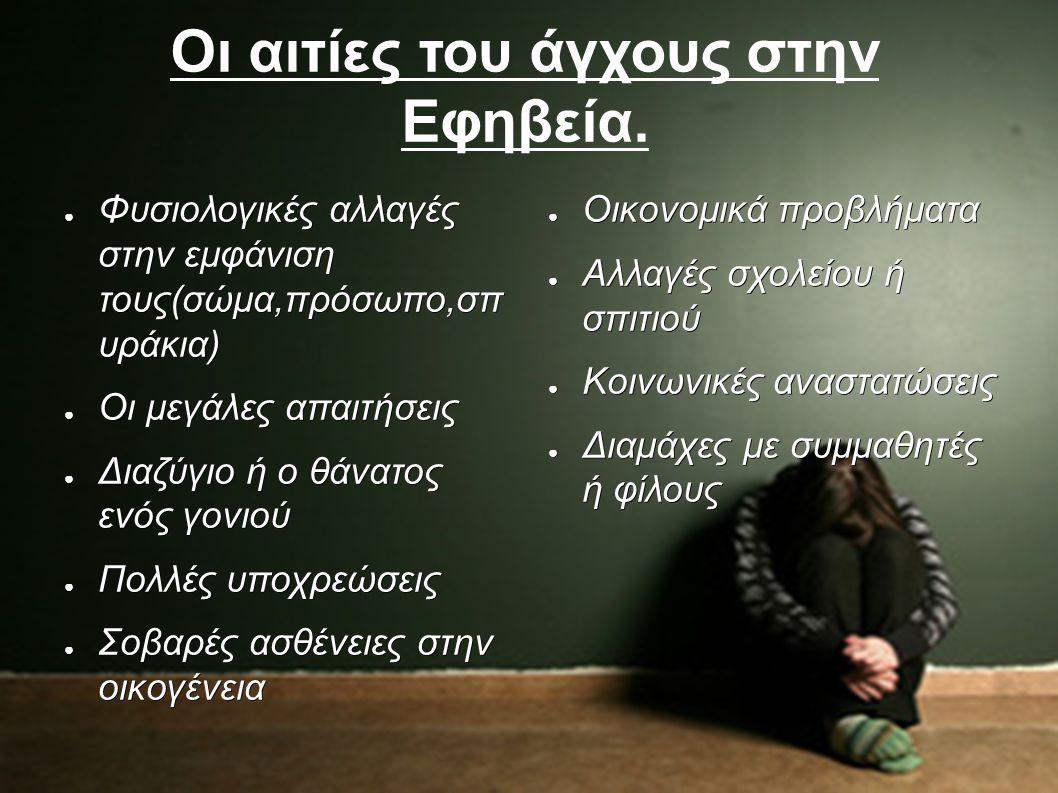 Οι αιτίες του άγχους στην Εφηβεία. ● Φυσιολογικές αλλαγές στην εμφάνιση τους(σώμα,πρόσωπο,σπ υράκια) ● Οι μεγάλες απαιτήσεις ● Διαζύγιο ή ο θάνατος εν