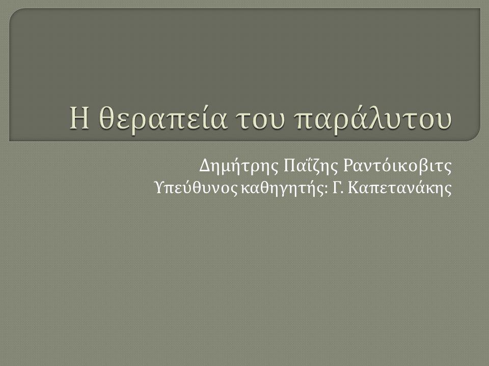 Δημήτρης Παΐζης Ραντόικοβιτς Υπεύθυνος καθηγητής : Γ. Καπετανάκης
