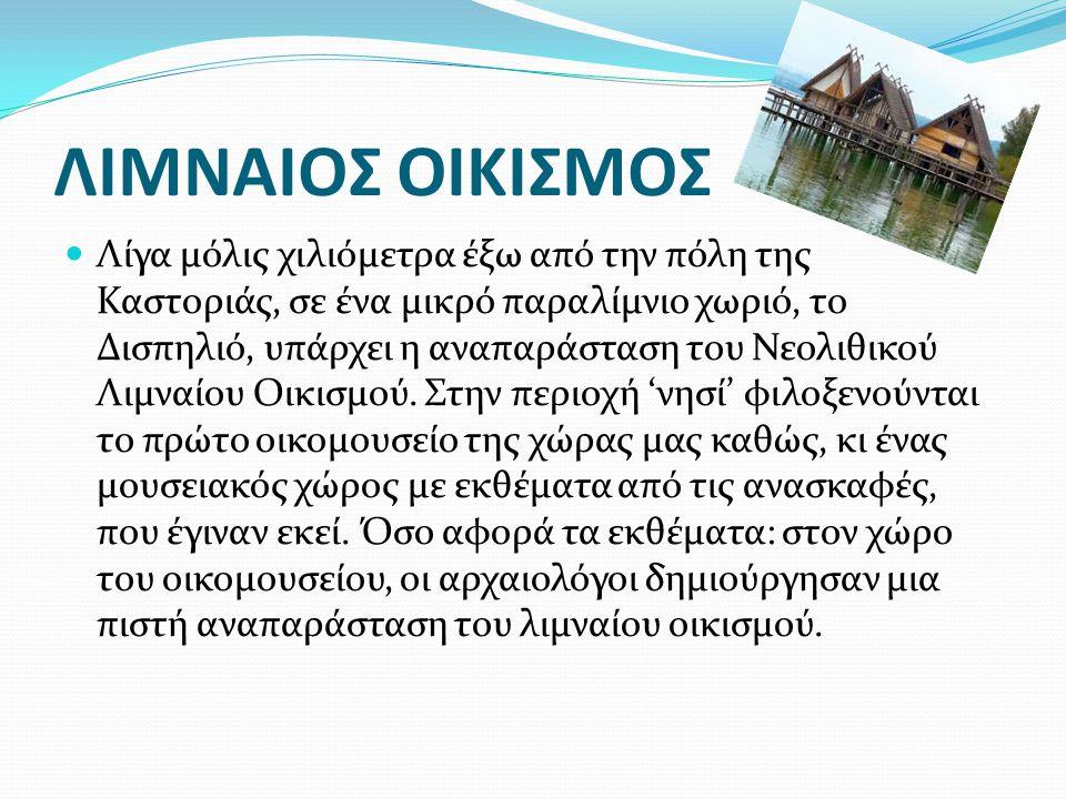 ΛΙΜΝΑΙΟΣ ΟΙΚΙΣΜΟΣ Λίγα μόλις χιλιόμετρα έξω από την πόλη της Καστοριάς, σε ένα μικρό παραλίμνιο χωριό, το Δισπηλιό, υπάρχει η αναπαράσταση του Νεολιθικού Λιμναίου Οικισμού.