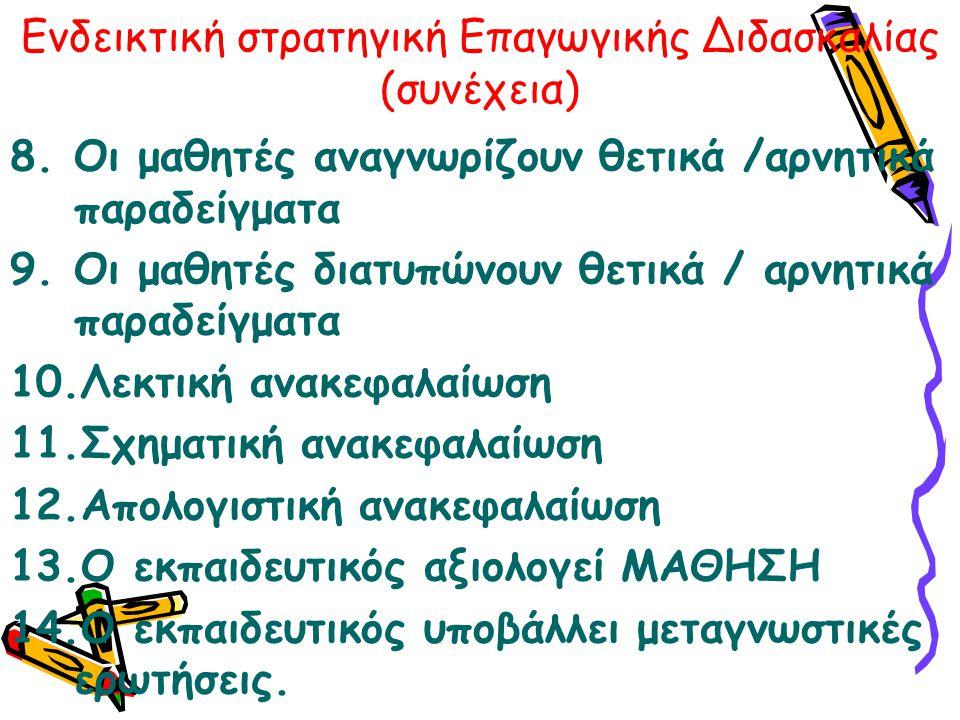 Ενδεικτική στρατηγική Επαγωγικής Διδασκαλίας (συνέχεια) 8.Οι μαθητές αναγνωρίζουν θετικά /αρνητικά παραδείγματα 9.Οι μαθητές διατυπώνουν θετικά / αρνη