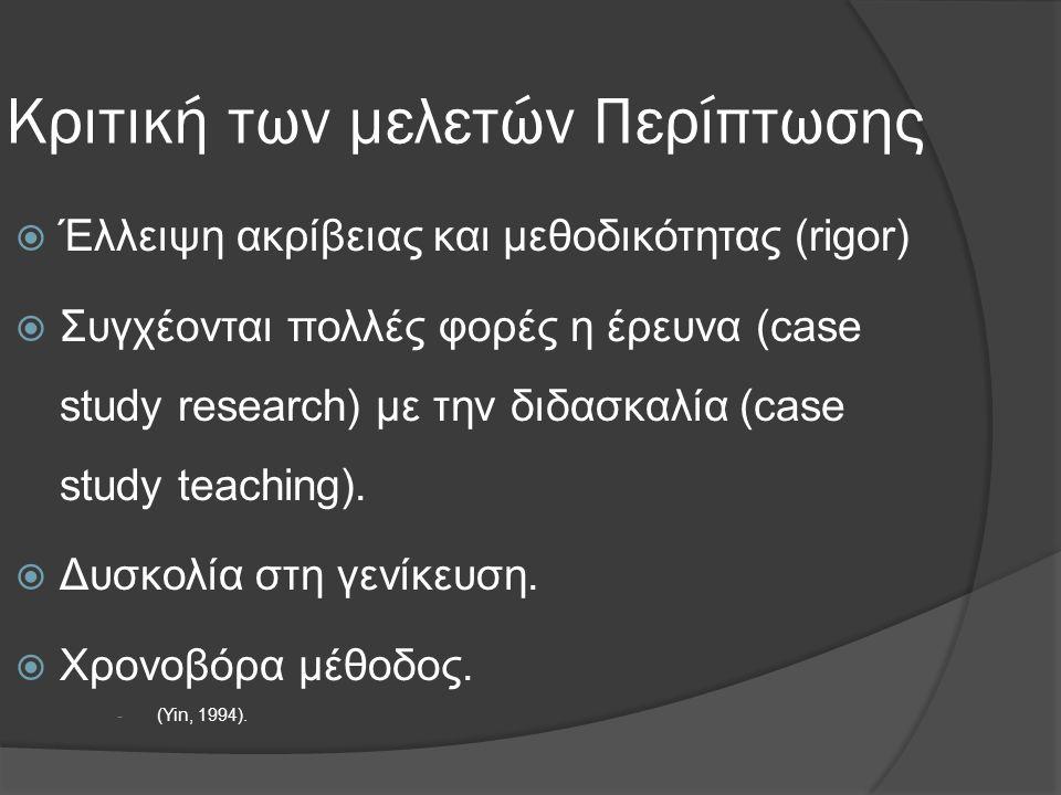 Κριτική των μελετών Περίπτωσης  Έλλειψη ακρίβειας και μεθοδικότητας (rigor)  Συγχέονται πολλές φορές η έρευνα (case study research) με την διδασκαλί