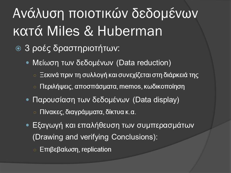 Ανάλυση ποιοτικών δεδομένων κατά Miles & Huberman  3 ροές δραστηριοτήτων: Μείωση των δεδομένων (Data reduction) ○ Ξεκινά πριν τη συλλογή και συνεχίζε