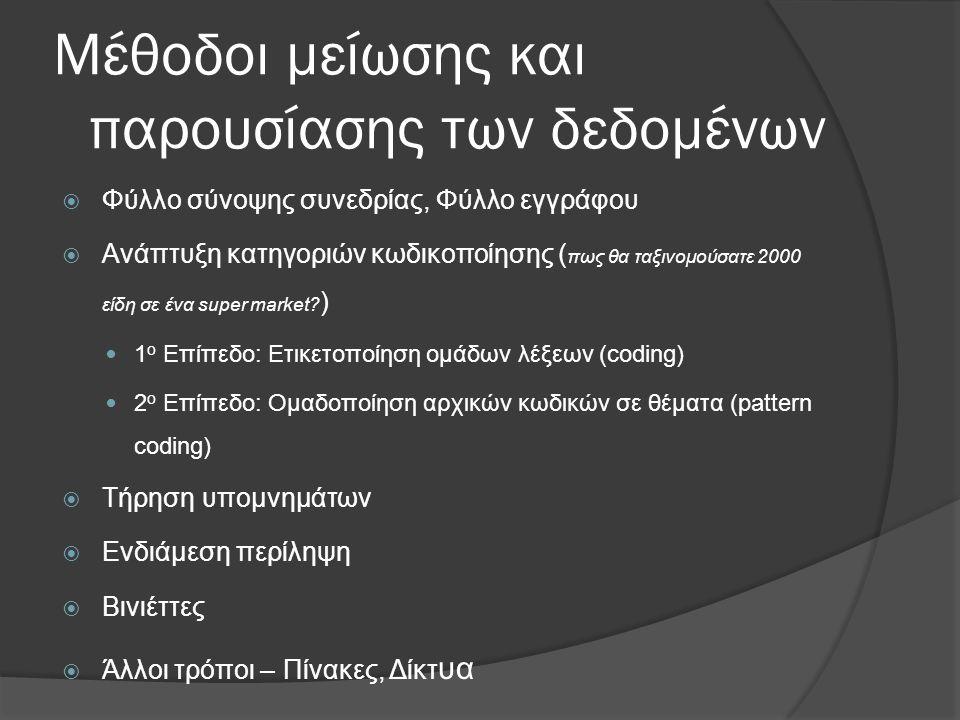 Μέθοδοι μείωσης και παρουσίασης των δεδομένων  Φύλλο σύνοψης συνεδρίας, Φύλλο εγγράφου  Ανάπτυξη κατηγοριών κωδικοποίησης ( πως θα ταξινομούσατε 200