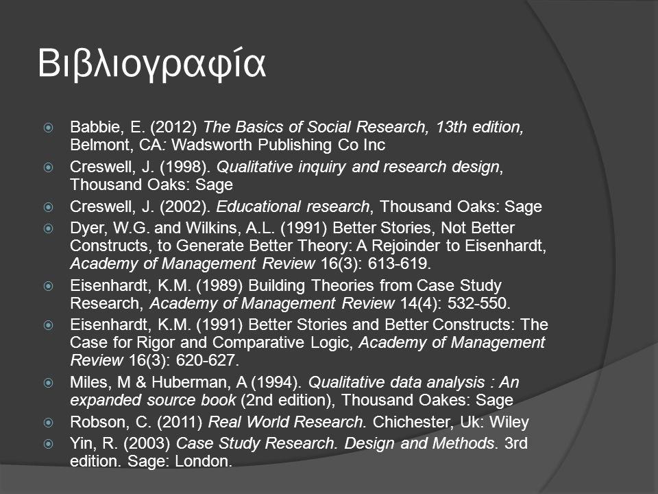 Βιβλιογραφία  Babbie, E. (2012) The Basics of Social Research, 13th edition, Belmont, CA: Wadsworth Publishing Co Inc  Creswell, J. (1998). Qualitat