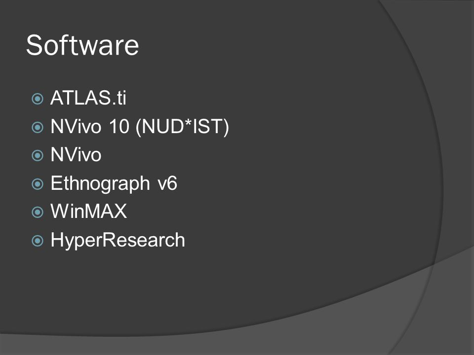 Software  ATLAS.ti  NVivo 10 (NUD*IST)  NVivo  Ethnograph v6  WinMAX  HyperResearch