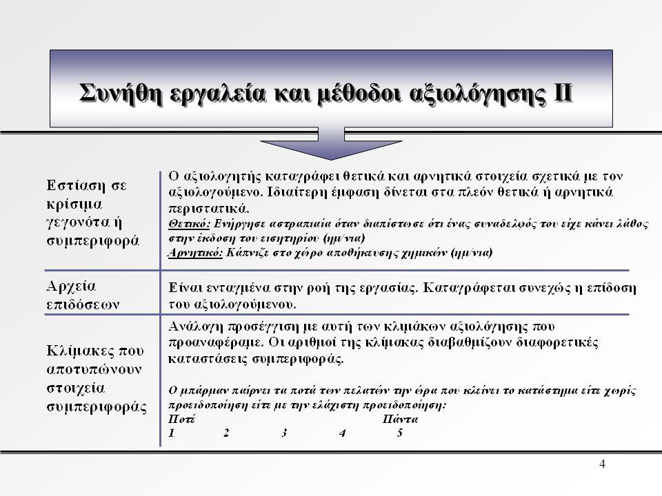 3 Συνήθη εργαλεία και μέθοδοι αξιολόγησης I
