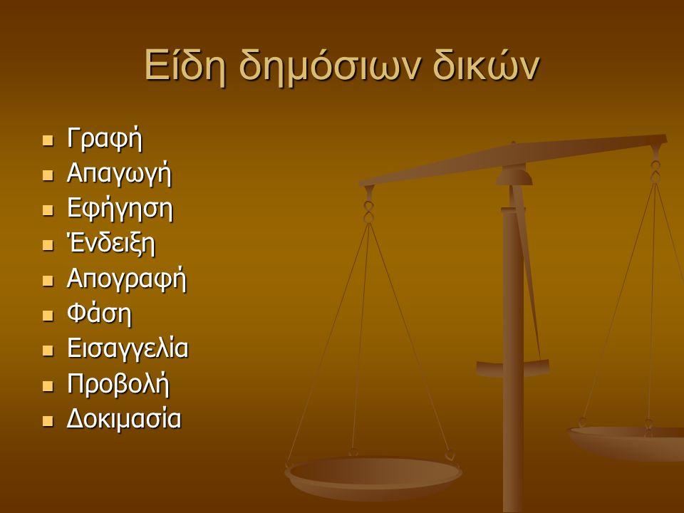 Είδη δημόσιων δικών Γραφή Γραφή Απαγωγή Απαγωγή Εφήγηση Εφήγηση Ένδειξη Ένδειξη Απογραφή Απογραφή Φάση Φάση Εισαγγελία Εισαγγελία Προβολή Προβολή Δοκιμασία Δοκιμασία