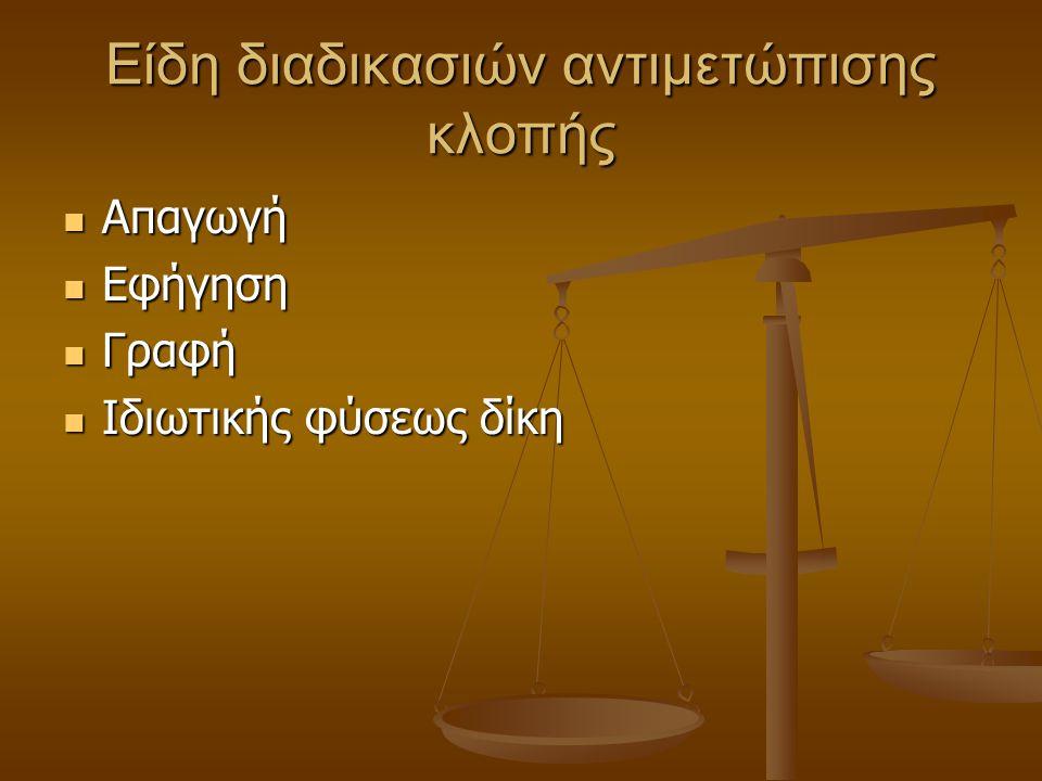 Είδη διαδικασιών αντιμετώπισης κλοπής Απαγωγή Απαγωγή Εφήγηση Εφήγηση Γραφή Γραφή Ιδιωτικής φύσεως δίκη Ιδιωτικής φύσεως δίκη