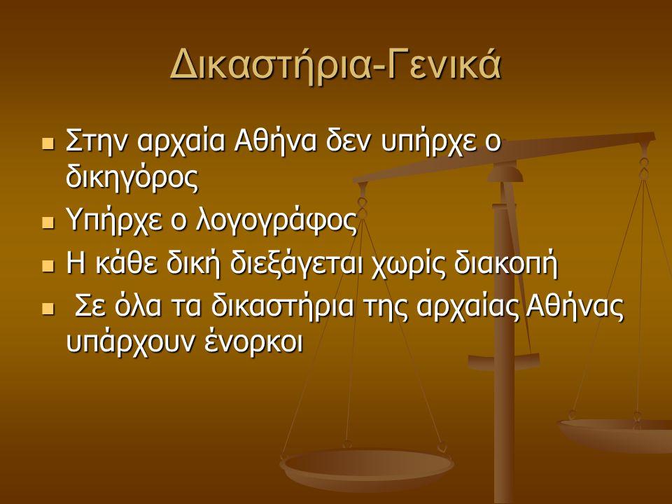 Δικαστήρια-Γενικά Στην αρχαία Αθήνα δεν υπήρχε ο δικηγόρος Στην αρχαία Αθήνα δεν υπήρχε ο δικηγόρος Υπήρχε ο λογογράφος Υπήρχε ο λογογράφος Η κάθε δική διεξάγεται χωρίς διακοπή Η κάθε δική διεξάγεται χωρίς διακοπή Σε όλα τα δικαστήρια της αρχαίας Αθήνας υπάρχουν ένορκοι Σε όλα τα δικαστήρια της αρχαίας Αθήνας υπάρχουν ένορκοι