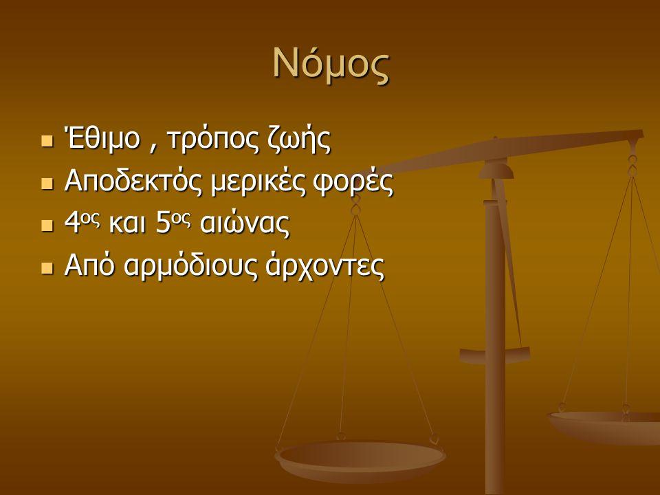 Νόμος Έθιμο, τρόπος ζωής Έθιμο, τρόπος ζωής Αποδεκτός μερικές φορές Αποδεκτός μερικές φορές 4 ος και 5 ος αιώνας 4 ος και 5 ος αιώνας Από αρμόδιους άρχοντες Από αρμόδιους άρχοντες