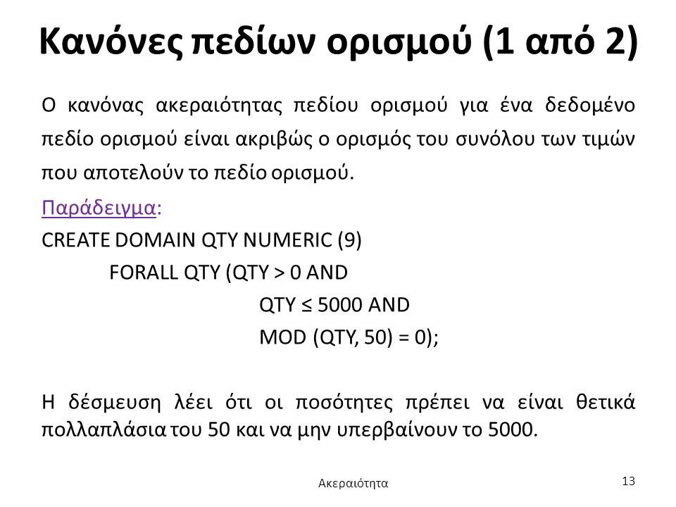 Κανόνες πεδίων ορισμού (1 από 2) Ο κανόνας ακεραιότητας πεδίου ορισμού για ένα δεδομένο πεδίο ορισμού είναι ακριβώς ο ορισμός του συνόλου των τιμών πο