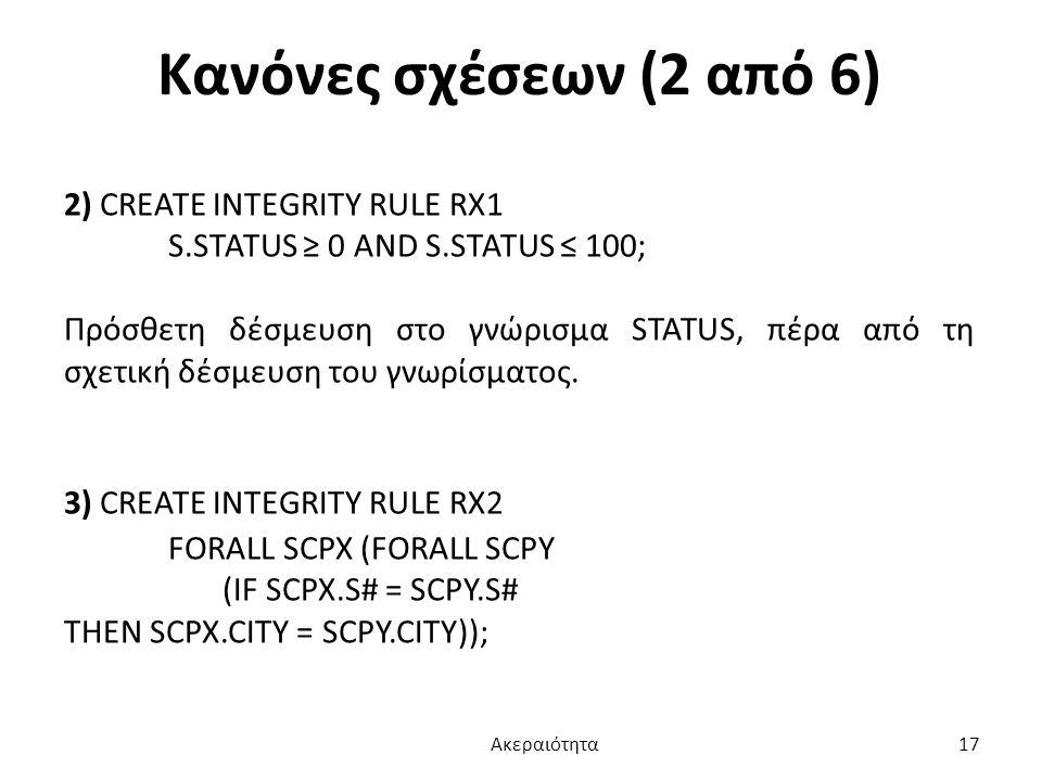 Κανόνες σχέσεων (2 από 6) 2) CREATE INTEGRITY RULE RX1 S.STATUS ≥ 0 AND S.STATUS ≤ 100; Πρόσθετη δέσμευση στο γνώρισμα STATUS, πέρα από τη σχετική δέσ