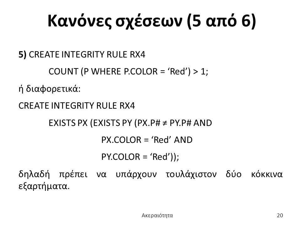 Κανόνες σχέσεων (5 από 6) 5) CREATE INTEGRITY RULE RX4 COUNT (P WHERE P.COLOR = 'Red') > 1; ή διαφορετικά: CREATE INTEGRITY RULE RX4 EXISTS PX (EXISTS