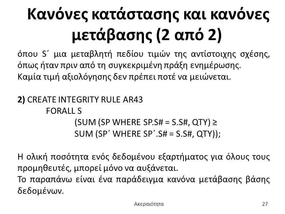 Κανόνες κατάστασης και κανόνες μετάβασης (2 από 2) όπου S΄ μια μεταβλητή πεδίου τιμών της αντίστοιχης σχέσης, όπως ήταν πριν από τη συγκεκριμένη πράξη