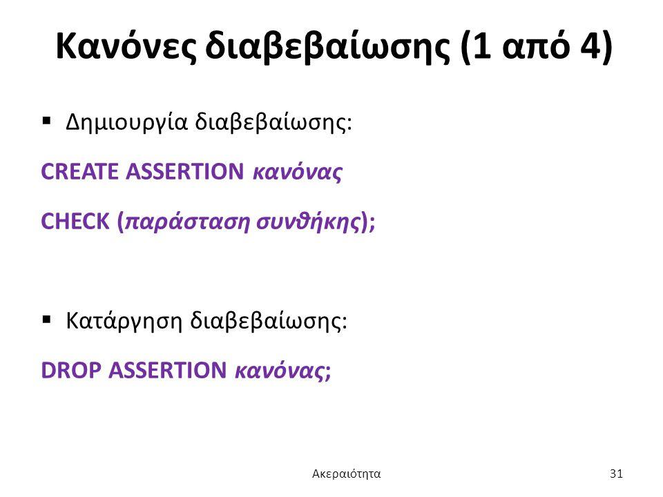 Κανόνες διαβεβαίωσης (1 από 4)  Δημιουργία διαβεβαίωσης: CREATE ASSERTION κανόνας CHECK (παράσταση συνθήκης);  Κατάργηση διαβεβαίωσης: DROP ASSERTIO