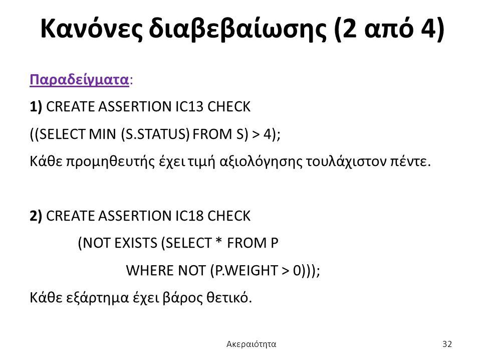 Κανόνες διαβεβαίωσης (2 από 4) Παραδείγματα: 1) CREATE ASSERTION IC13 CHECK ((SELECT MIN (S.STATUS) FROM S) > 4); Κάθε προμηθευτής έχει τιμή αξιολόγησ