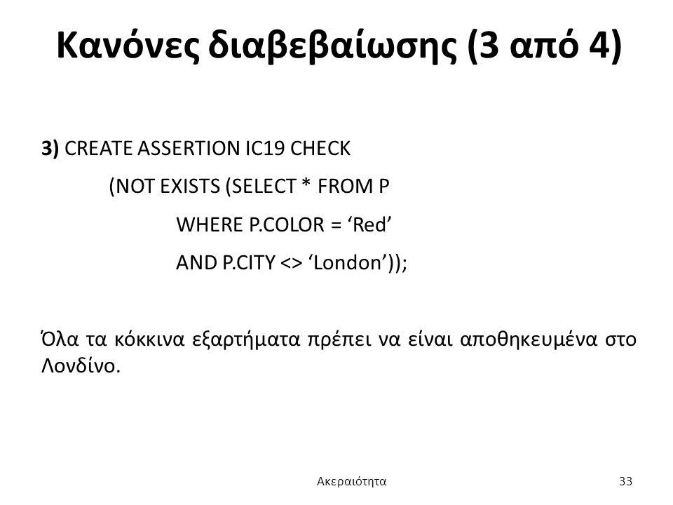 Κανόνες διαβεβαίωσης (3 από 4) 3) CREATE ASSERTION IC19 CHECK (NOT EXISTS (SELECT * FROM P WHERE P.COLOR = 'Red' AND P.CITY <> 'London')); Όλα τα κόκκ