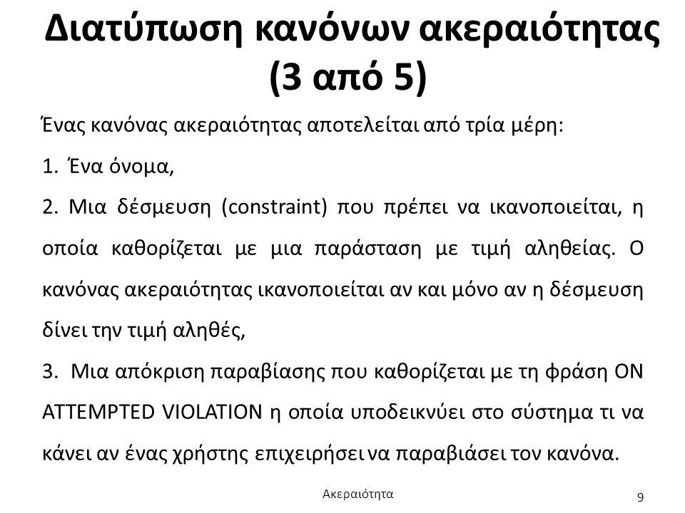 Διατύπωση κανόνων ακεραιότητας (3 από 5) Ένας κανόνας ακεραιότητας αποτελείται από τρία μέρη: 1. Ένα όνομα, 2. Μια δέσμευση (constraint) που πρέπει να