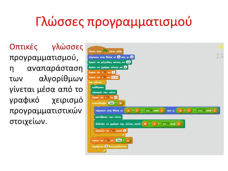 Γλώσσες προγραμματισμού Οπτικές γλώσσες προγραμματισμού, η αναπαράσταση των αλγορίθμων γίνεται μέσα από το γραφικό χειρισμό προγραμματιστικών στοιχείω