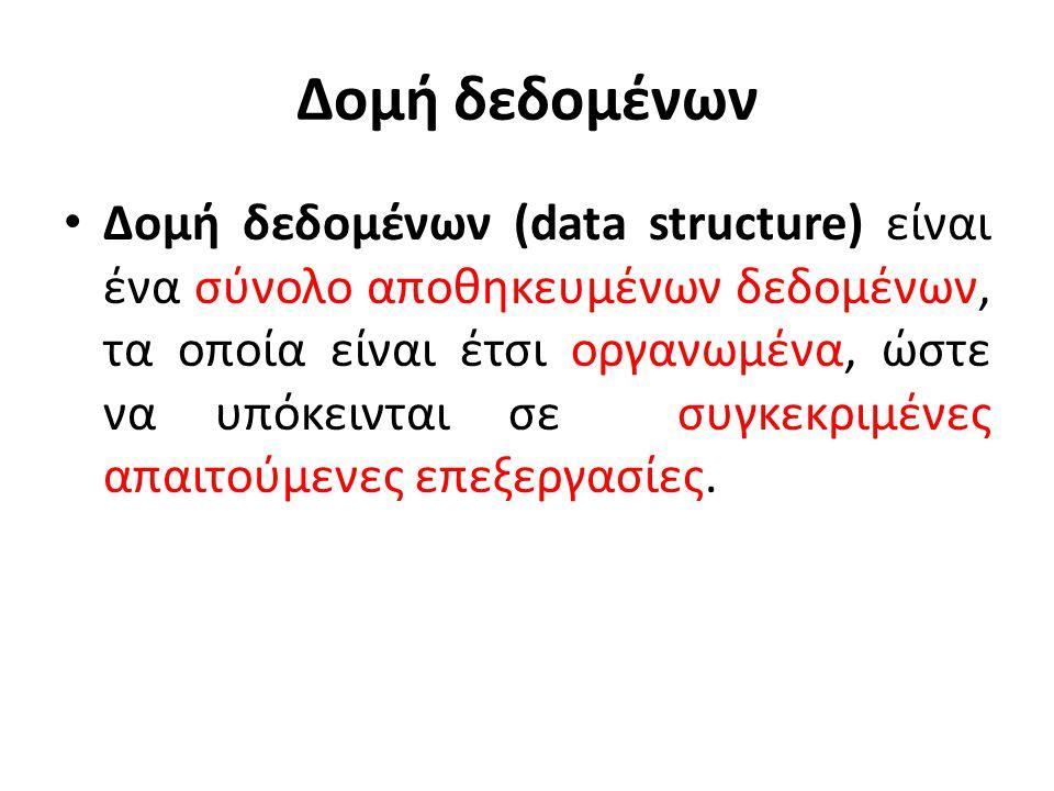 Δομή δεδομένων Δομή δεδομένων (data structure) είναι ένα σύνολο αποθηκευμένων δεδομένων, τα οποία είναι έτσι οργανωμένα, ώστε να υπόκεινται σε συγκεκρ