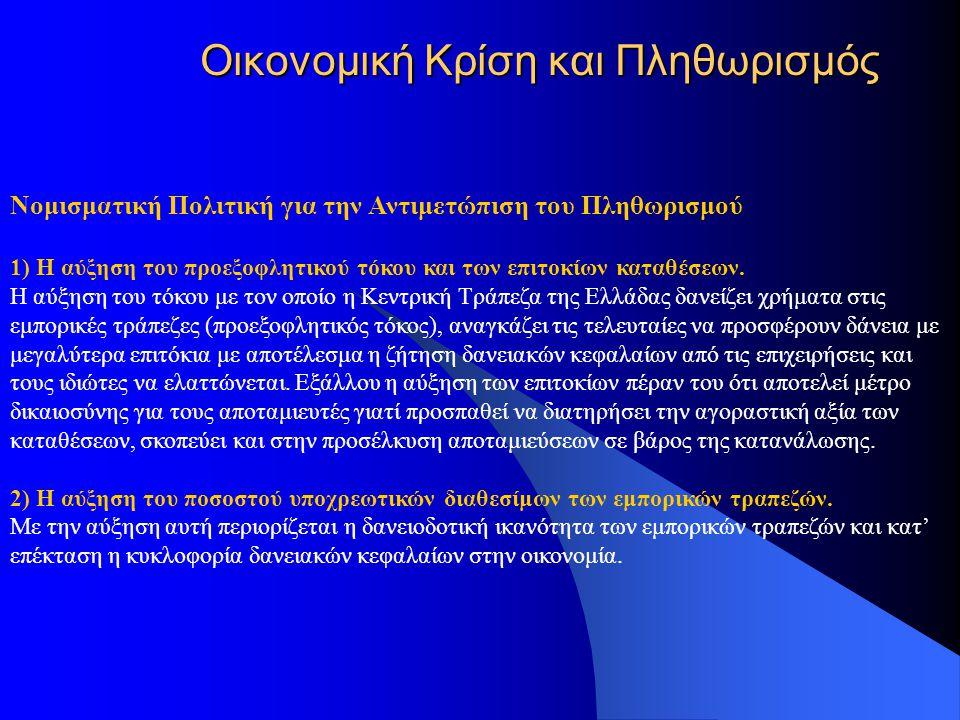 Οικονομική Κρίση και Πληθωρισμός Νομισματική Πολιτική για την Αντιμετώπιση του Πληθωρισμού 1) Η αύξηση του προεξοφλητικού τόκου και των επιτοκίων καταθέσεων.
