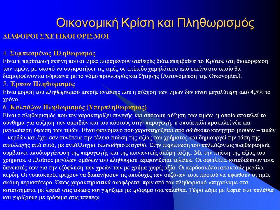 Οικονομική Κρίση και Πληθωρισμός ΔΙΑΦΟΡΟΙ ΣΧΕΤΙΚΟΙ ΟΡΙΣΜΟΙ 4.