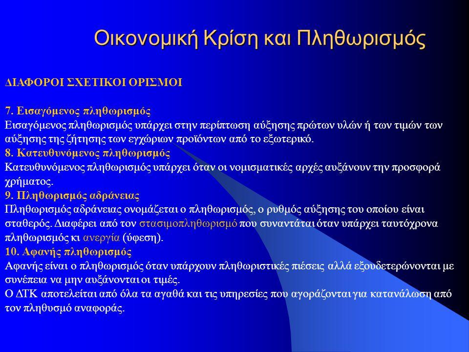 Οικονομική Κρίση και Πληθωρισμός ΔΙΑΦΟΡΟΙ ΣΧΕΤΙΚΟΙ ΟΡΙΣΜΟΙ 7.