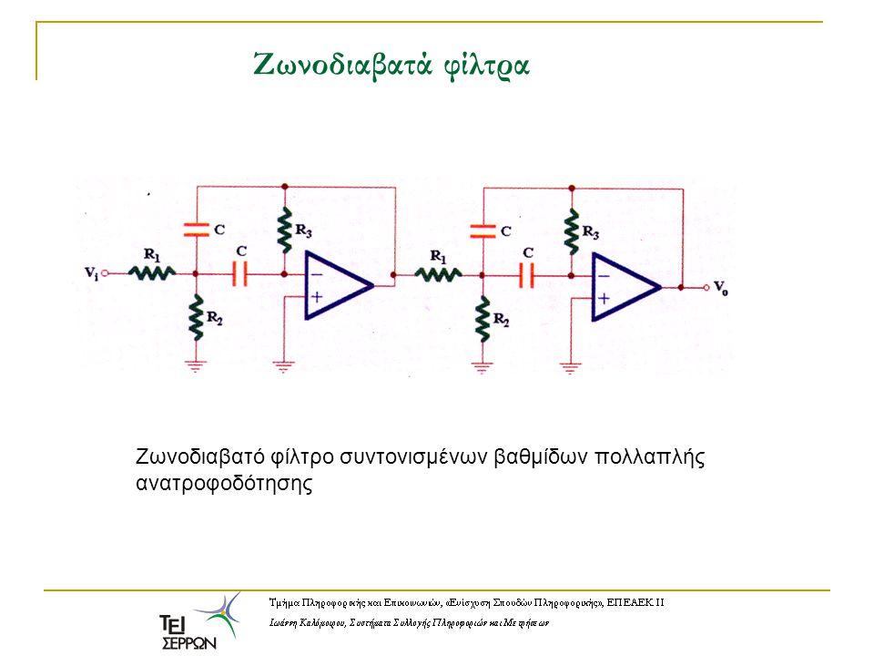 Ζωνοδιαβατά φίλτρα Ζωνοδιαβατό φίλτρο συντονισμένων βαθμίδων πολλαπλής ανατροφοδότησης