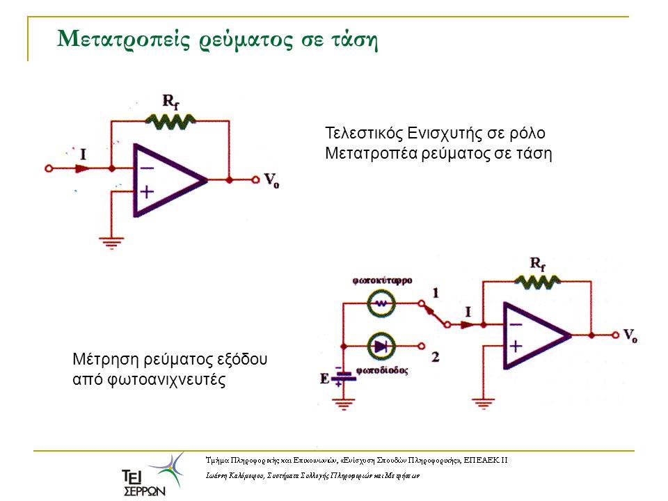 Μετατροπείς ρεύματος σε τάση Τελεστικός Ενισχυτής σε ρόλο Μετατροπέα ρεύματος σε τάση Μέτρηση ρεύματος εξόδου από φωτοανιχνευτές
