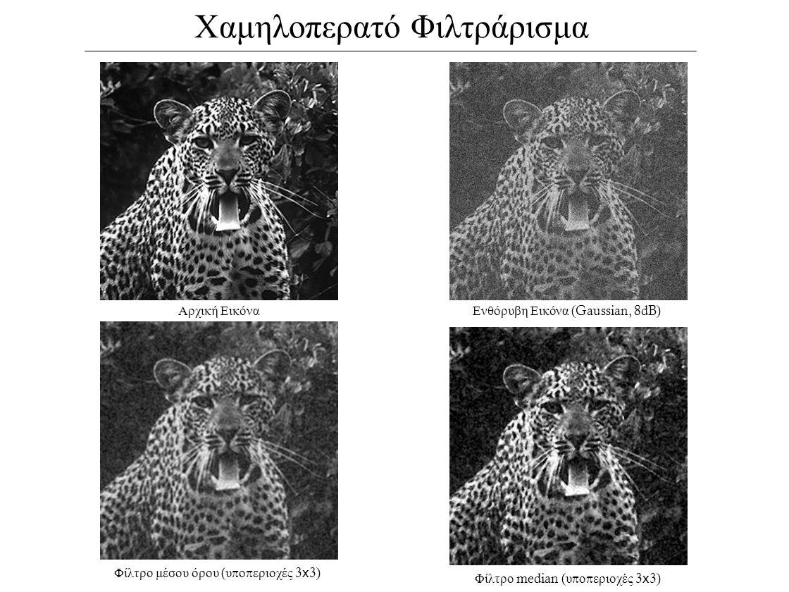 Χαμηλοπερατό Φιλτράρισμα Αρχική ΕικόναΕνθόρυβη Εικόνα (Gaussian, 8dB) Φίλτρο μέσου όρου ( υ π ο π εριοχές 3 x 3) Φίλτρο median ( υ π ο π εριοχές 3 x 3