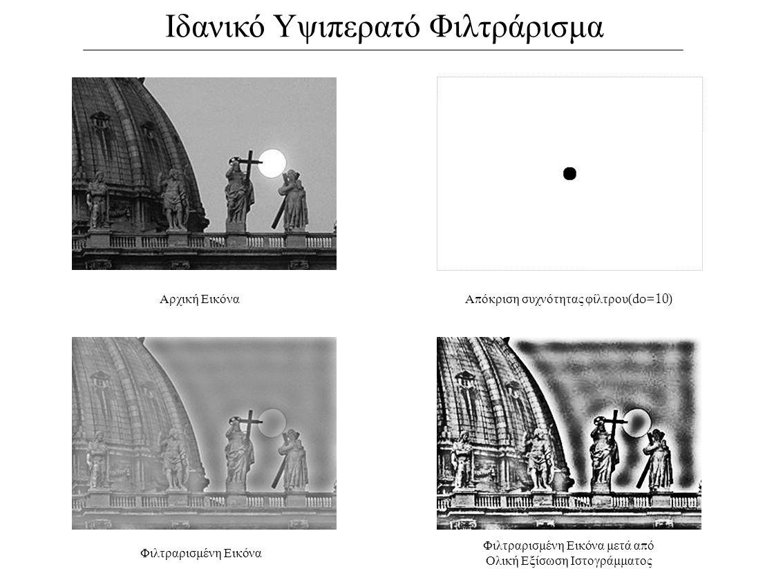 Ιδανικό Υψιπερατό Φιλτράρισμα Αρχική ΕικόναΑ π όκριση συχνότητας φίλτρου (do=10) Φιλτραρισμένη Εικόνα Φιλτραρισμένη Εικόνα μετά α π ό Ολική Εξίσωση Ιστογράμματος