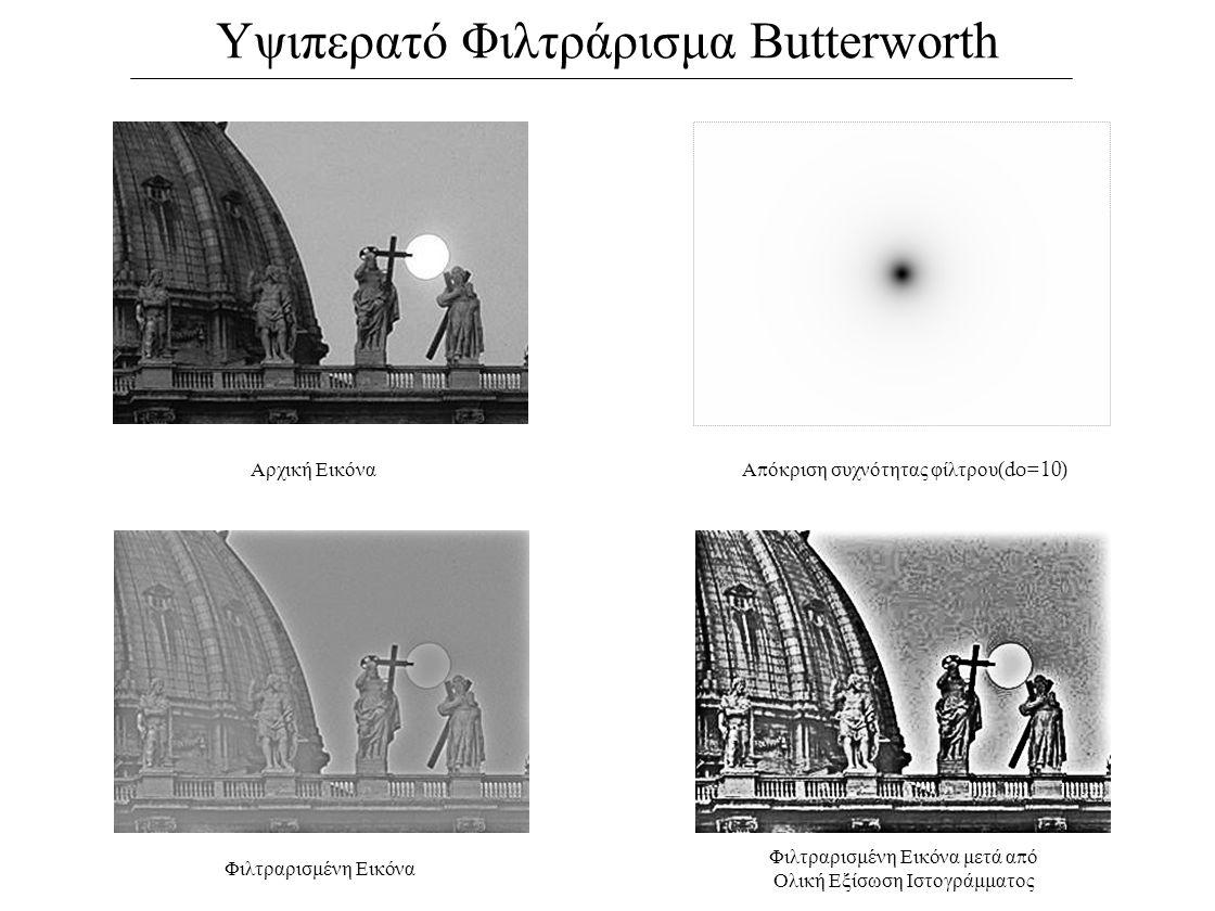 Υψιπερατό Φιλτράρισμα Butterworth Αρχική ΕικόναΑ π όκριση συχνότητας φίλτρου (do=10) Φιλτραρισμένη Εικόνα Φιλτραρισμένη Εικόνα μετά α π ό Ολική Εξίσωση Ιστογράμματος