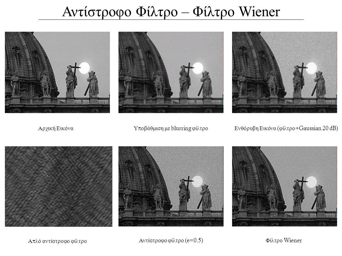 Αντίστροφο Φίλτρο – Φίλτρο Wiener Αρχική ΕικόναΕνθόρυβη Εικόνα ( φίλτρο +Gaussian 20 dB) Α π λό αντίστροφο φίλτρο Φίλτρο Wiener Υ π οβάθμιση με blurring φίλτρο Αντίστροφο φίλτρο (e=0.5)