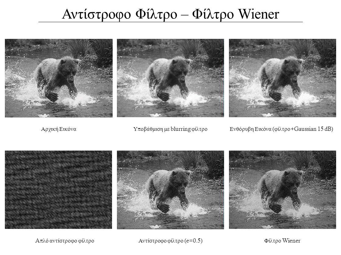 Αντίστροφο Φίλτρο – Φίλτρο Wiener Αρχική ΕικόναΕνθόρυβη Εικόνα ( φίλτρο +Gaussian 15 dB) Aπ λό αντίστροφο φίλτροΑντίστροφο φίλτρο (e=0.5) Υ π οβάθμιση με blurring φίλτρο Φίλτρο Wiener