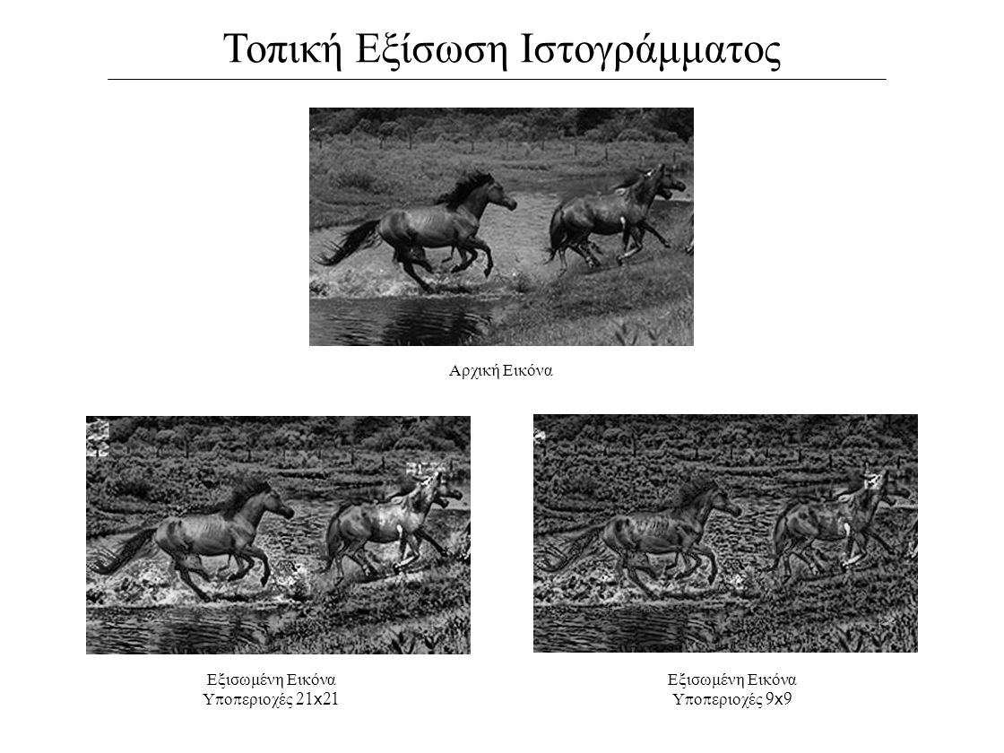 Τοπική Εξίσωση Ιστογράμματος Αρχική Εικόνα Εξισωμένη Εικόνα Υ π ο π εριοχές 21 x 21 Εξισωμένη Εικόνα Υ π ο π εριοχές 9 x 9