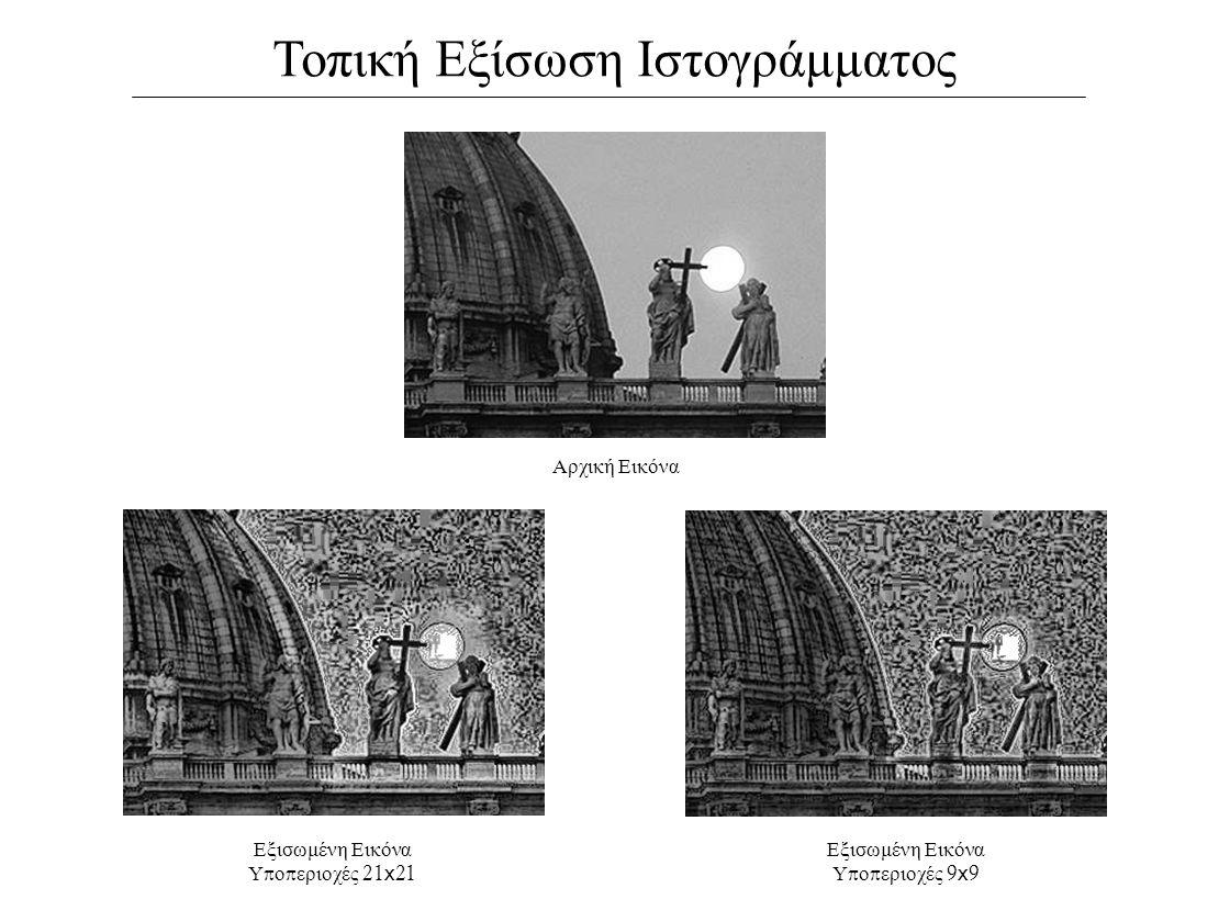 Τοπική Εξίσωση Ιστογράμματος Αρχική Εικόνα Εξισωμένη Εικόνα Υ π ο π εριοχές 9 x 9 Εξισωμένη Εικόνα Υ π ο π εριοχές 21 x 21