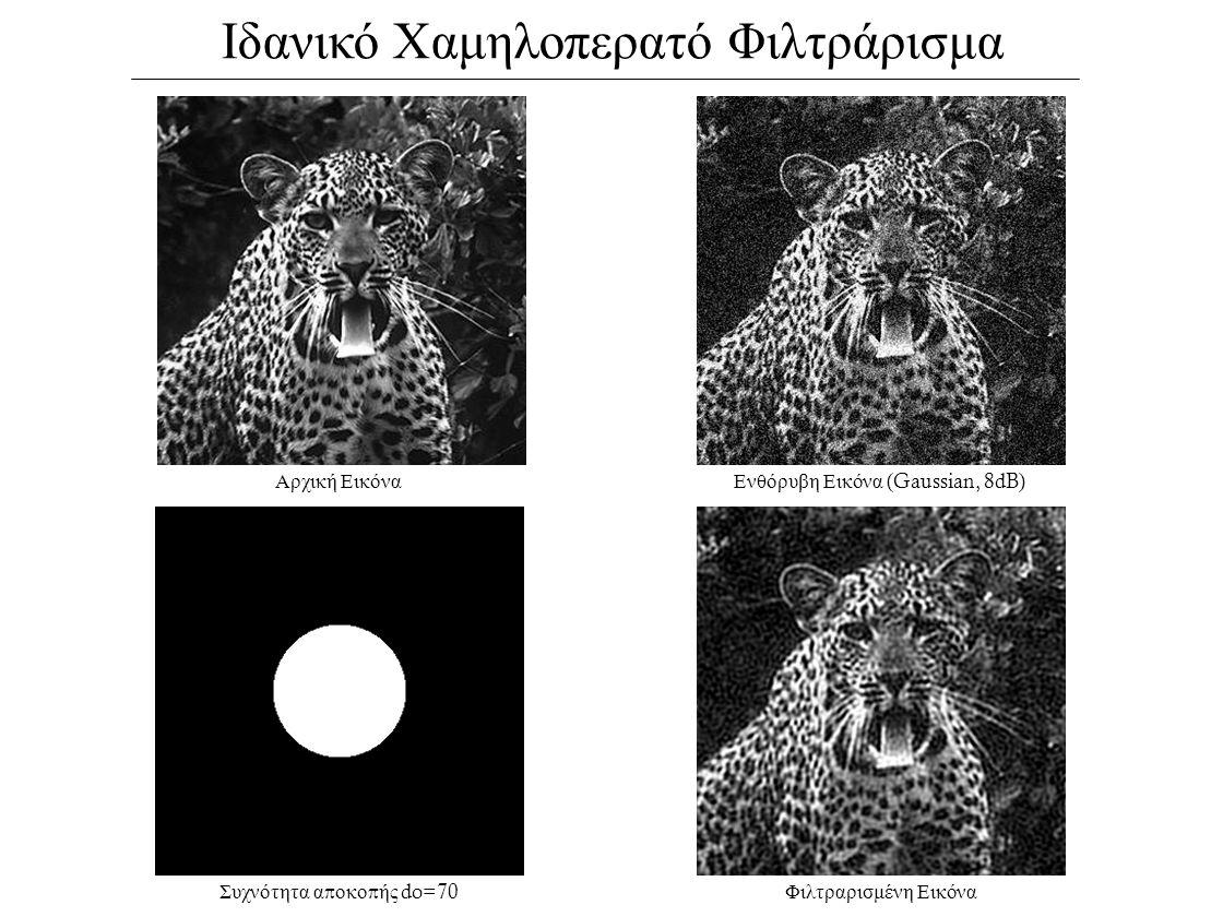Ιδανικό Χαμηλοπερατό Φιλτράρισμα Αρχική ΕικόναΕνθόρυβη Εικόνα (Gaussian, 8dB) Συχνότητα α π οκο π ής do=70 Φιλτραρισμένη Εικόνα