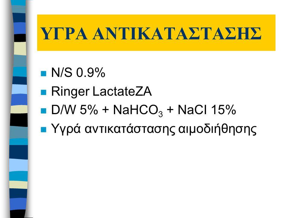 ΥΓΡΑ ΑΝΤΙΚΑΤΑΣΤΑΣΗΣ n N/S 0.9% n Ringer LactateZA n D/W 5% + NaHCO 3 + NaCI 15% n Υγρά αντικατάστασης αιμοδιήθησης