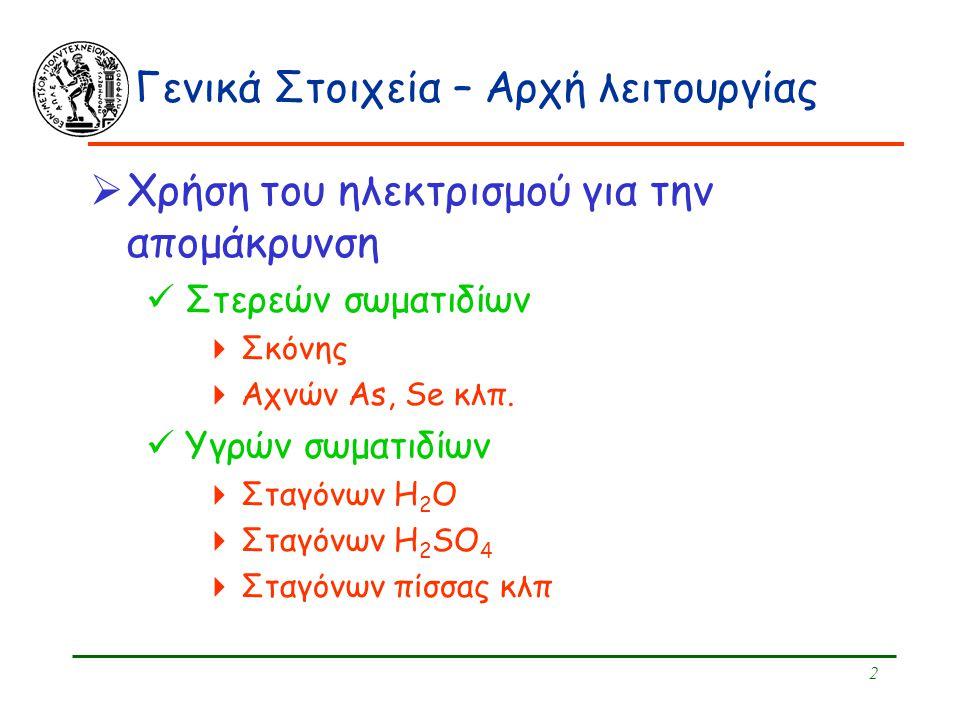 2 Γενικά Στοιχεία – Αρχή λειτουργίας  Χρήση του ηλεκτρισμού για την απομάκρυνση Στερεών σωματιδίων  Σκόνης  Αχνών As, Se κλπ. Υγρών σωματιδίων  Στ