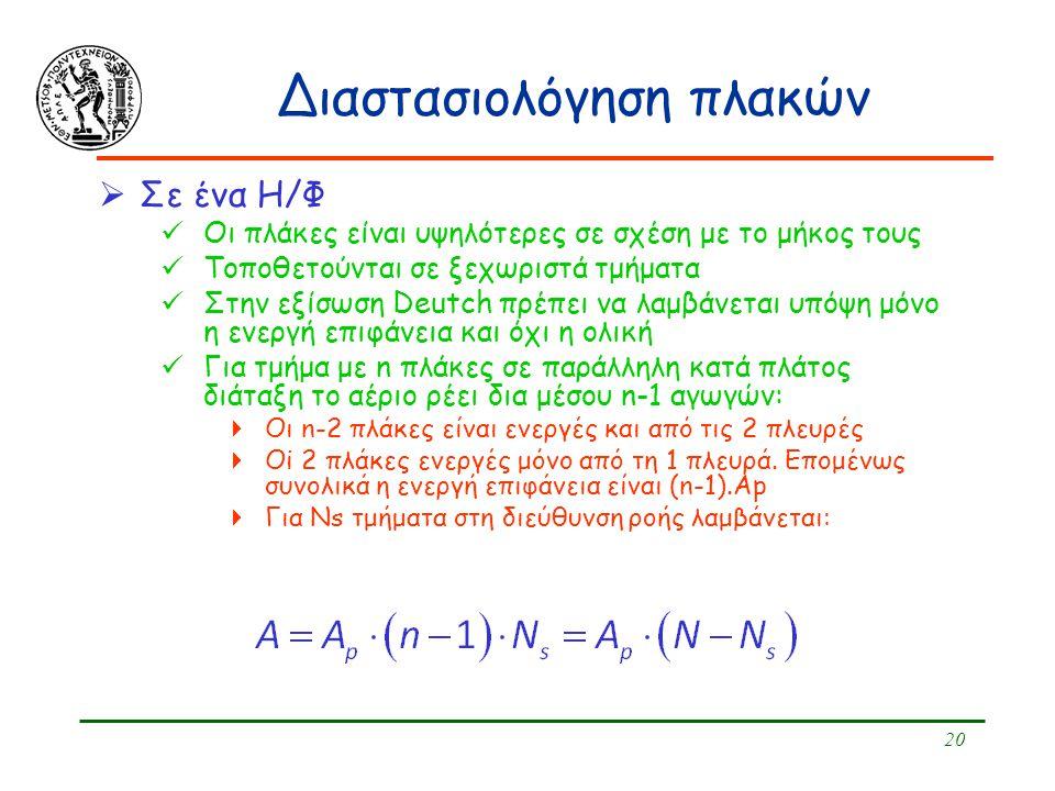20 Διαστασιολόγηση πλακών  Σε ένα Η/Φ Οι πλάκες είναι υψηλότερες σε σχέση με το μήκος τους Τοποθετούνται σε ξεχωριστά τμήματα Στην εξίσωση Deutch πρέ