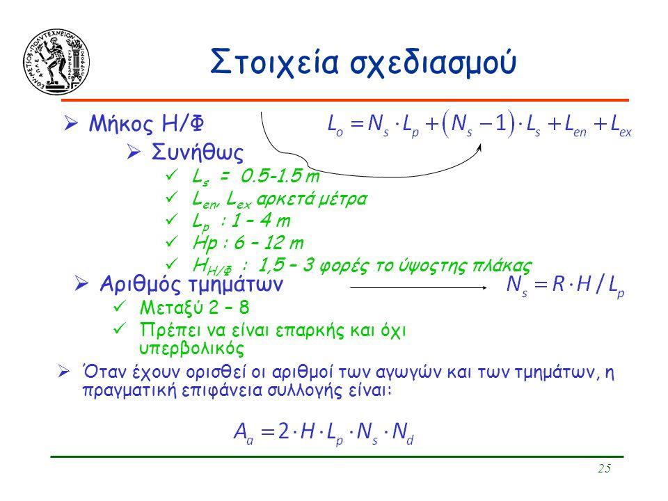 25 Στοιχεία σχεδιασμού  Μήκος Η/Φ  Συνήθως L s = 0.5-1.5 m L en, L ex αρκετά μέτρα L p : 1 – 4 m Ηp : 6 – 12 m H H/Φ : 1,5 – 3 φορές το ύψοςτης πλάκ