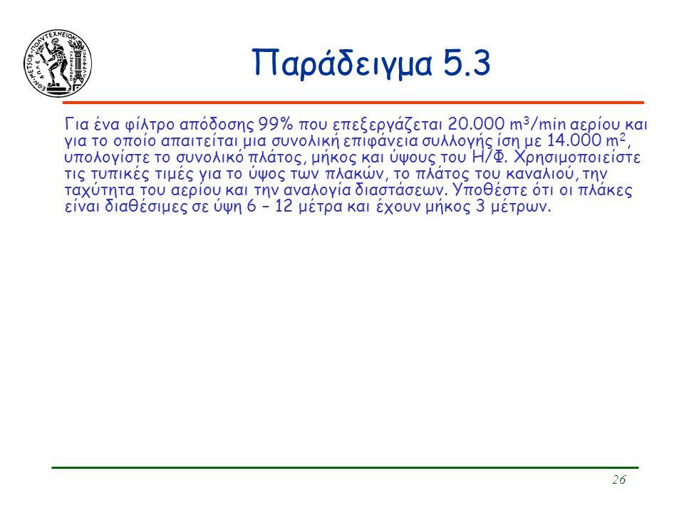 26 Παράδειγμα 5.3 Για ένα φίλτρο απόδοσης 99% που επεξεργάζεται 20.000 m 3 /min αερίου και για το οποίο απαιτείται μια συνολική επιφάνεια συλλογής ίση
