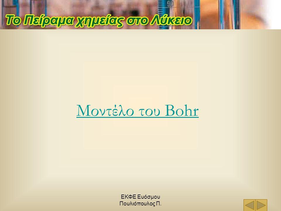 ΕΚΦΕ Ευόσμου Πουλιόπουλος Π. Μοντέλο του Bohr