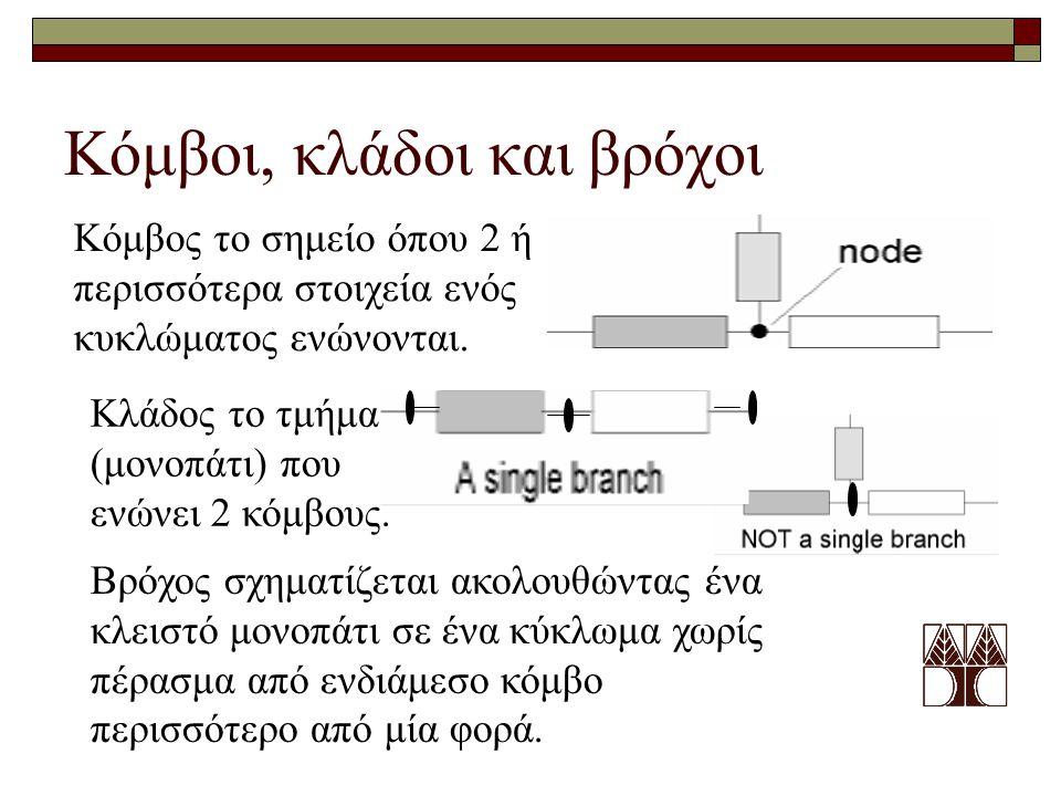 Κόμβοι, κλάδοι και βρόχοι Κόμβος το σημείο όπου 2 ή περισσότερα στοιχεία ενός κυκλώματος ενώνονται. Κλάδος το τμήμα (μονοπάτι) που ενώνει 2 κόμβους. Β