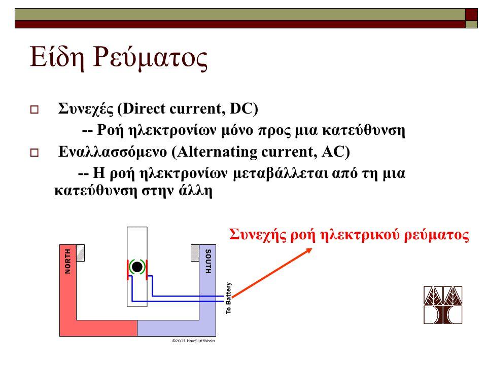 Είδη Ρεύματος  Συνεχές (Direct current, DC) -- Ροή ηλεκτρονίων μόνο προς μια κατεύθυνση  Εναλλασσόμενο (Alternating current, AC) -- Η ροή ηλεκτρονίω