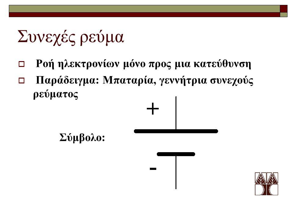 Εναλλασσόμενο ρεύμα Η ροή ηλεκτρονίων εναλλάσσεται Παράδειγμα: Γεννήτρια εναλλασσόμενου ρεύματος Σύμβολο: Μπορεί πιο εύκολα να αναπαραστήσει χρονικά μεταβαλλόμενα σήματα όπως ήχο (ομιλία, μουσική) και εικόνες.