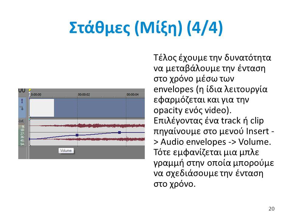 Στάθμες (Μίξη) (4/4) Τέλος έχουμε την δυνατότητα να μεταβάλουμε την ένταση στο χρόνο μέσω των envelopes (η ίδια λειτουργία εφαρμόζεται και για την opacity ενός video).