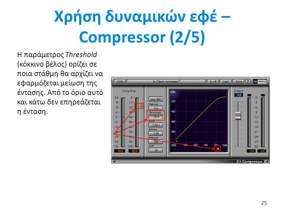 Η παράμετρος Threshold (κόκκινο βέλος) ορίζει σε ποια στάθμη θα αρχίζει να εφαρμόζεται μείωση της έντασης.